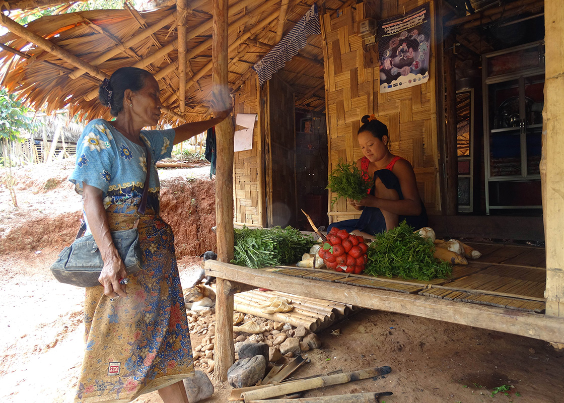 A local preparing to sell fruits and vegetables she'd gathered from a forest