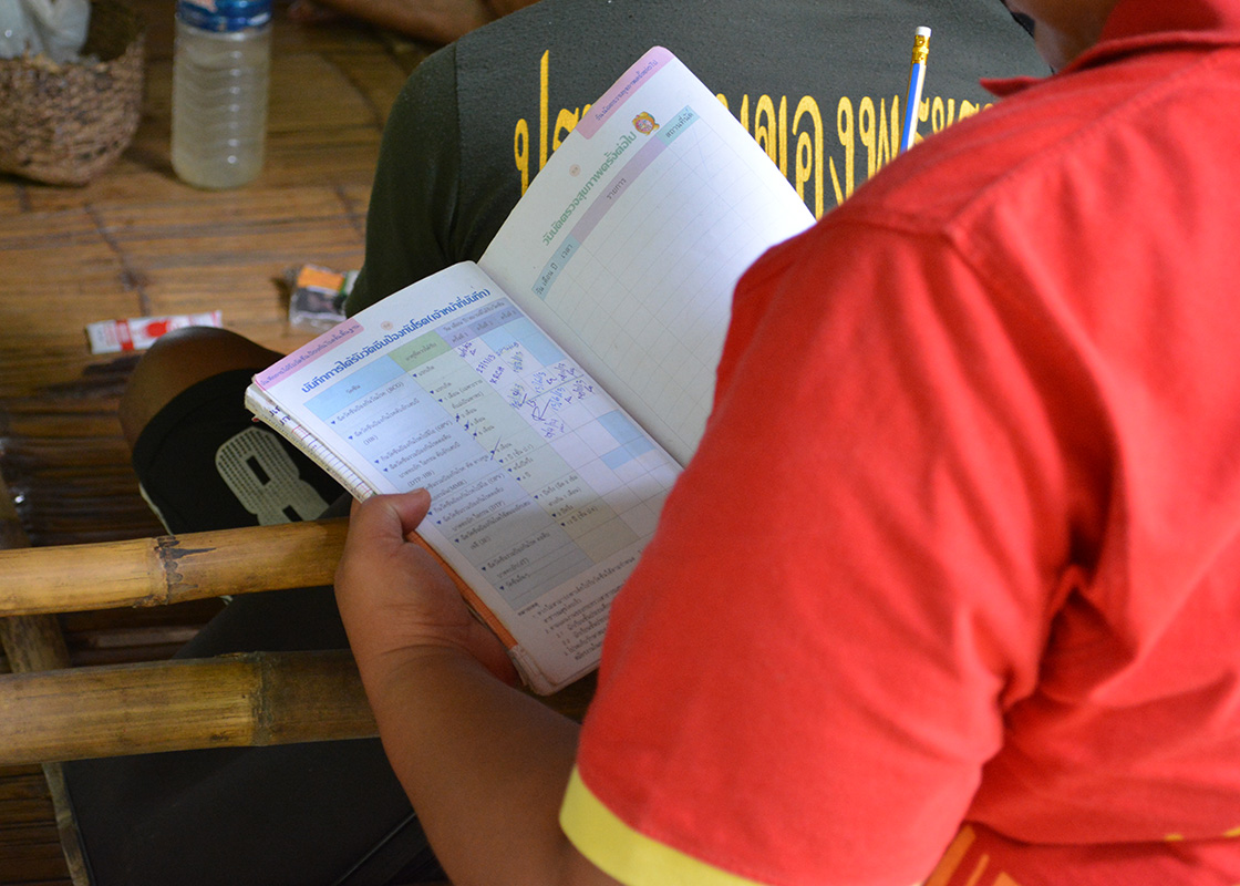 Pimpa looking through a vaccination record book of a child in one family.
