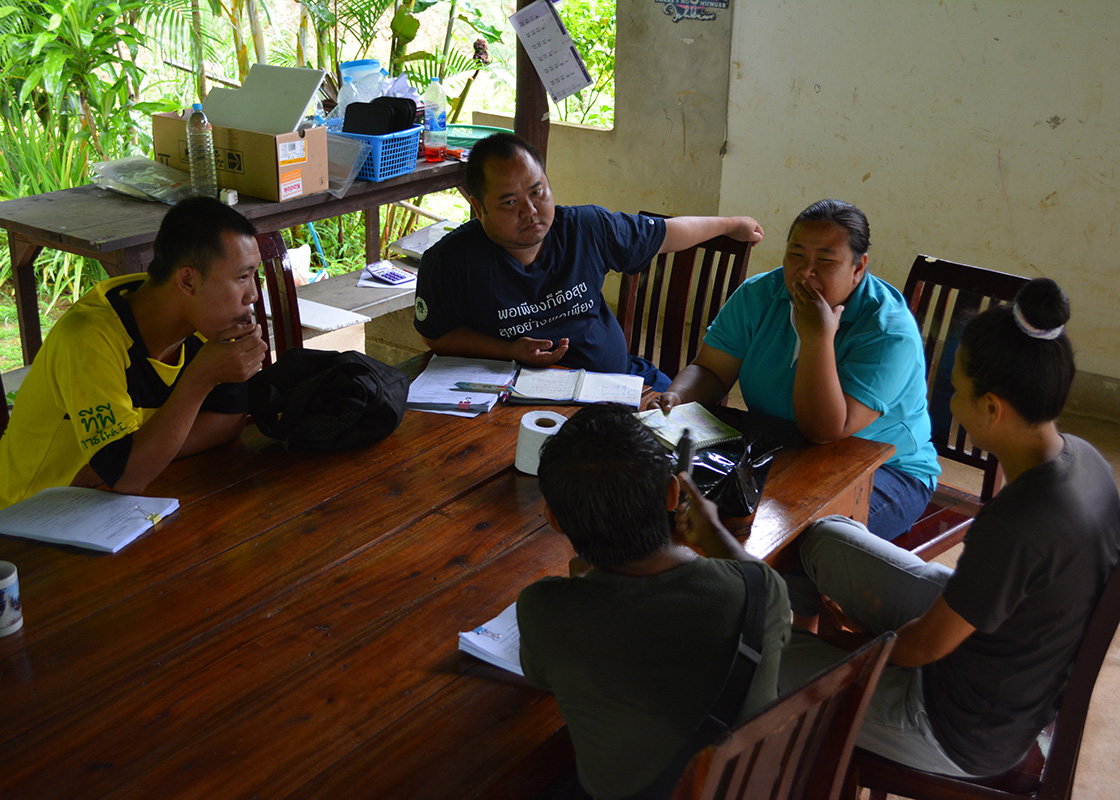 The team planning the routes of the baseline community survey for the day.