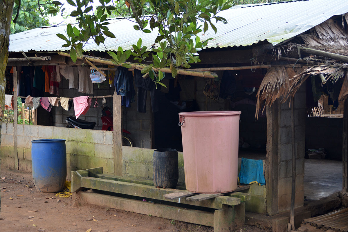 Several households collecting rainwater in the rainy season.