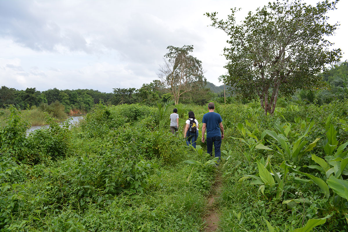 Trekking to the spot where the locals in Ban Mai collect water when the river water by their houses is too muddy.