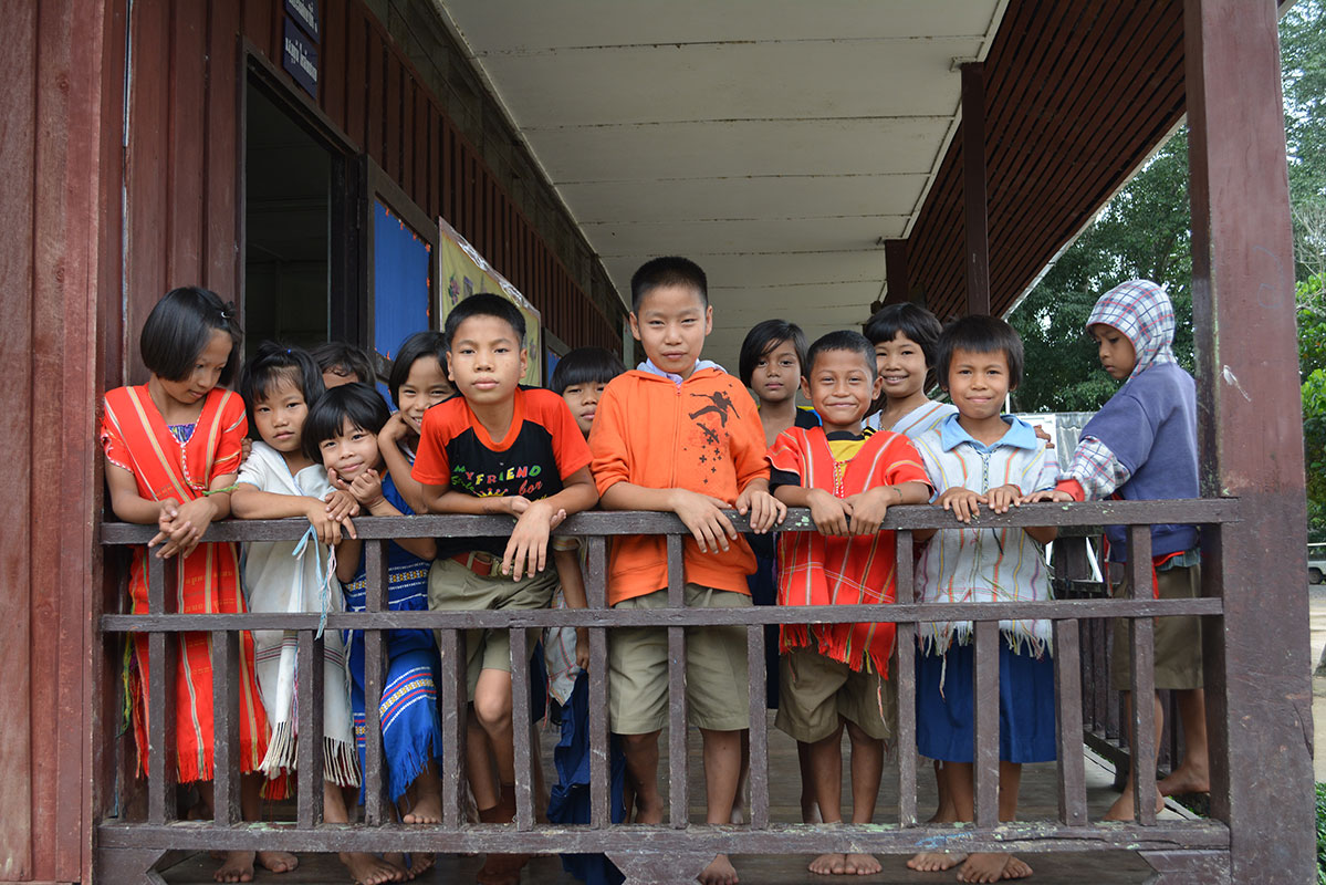 Schoolchildren at a school near Fung Na were happy to see us.