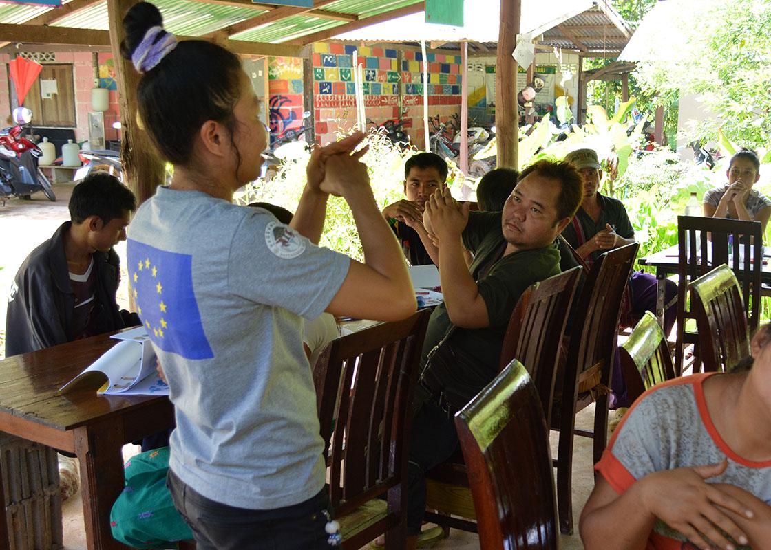 Before lunch, Piyawan teaching the proper hand-washing steps.