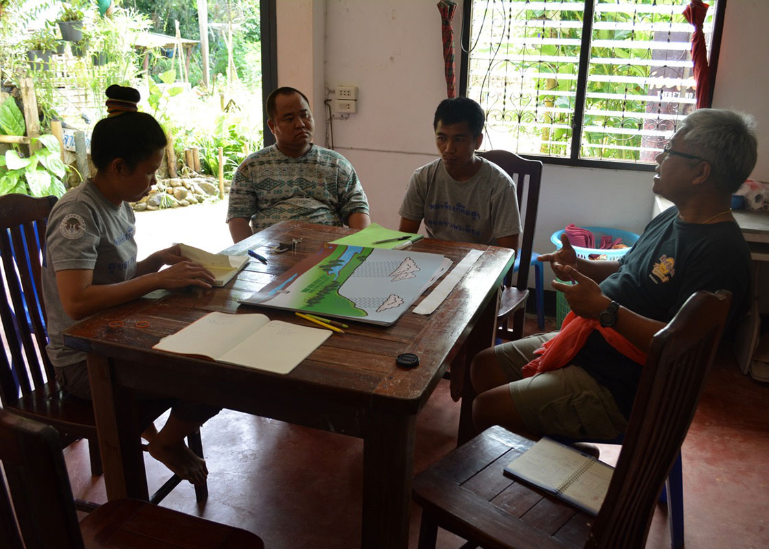 In Sangkhlaburi, the team discussing the use of the new educational materials. Mobile posters on the table.