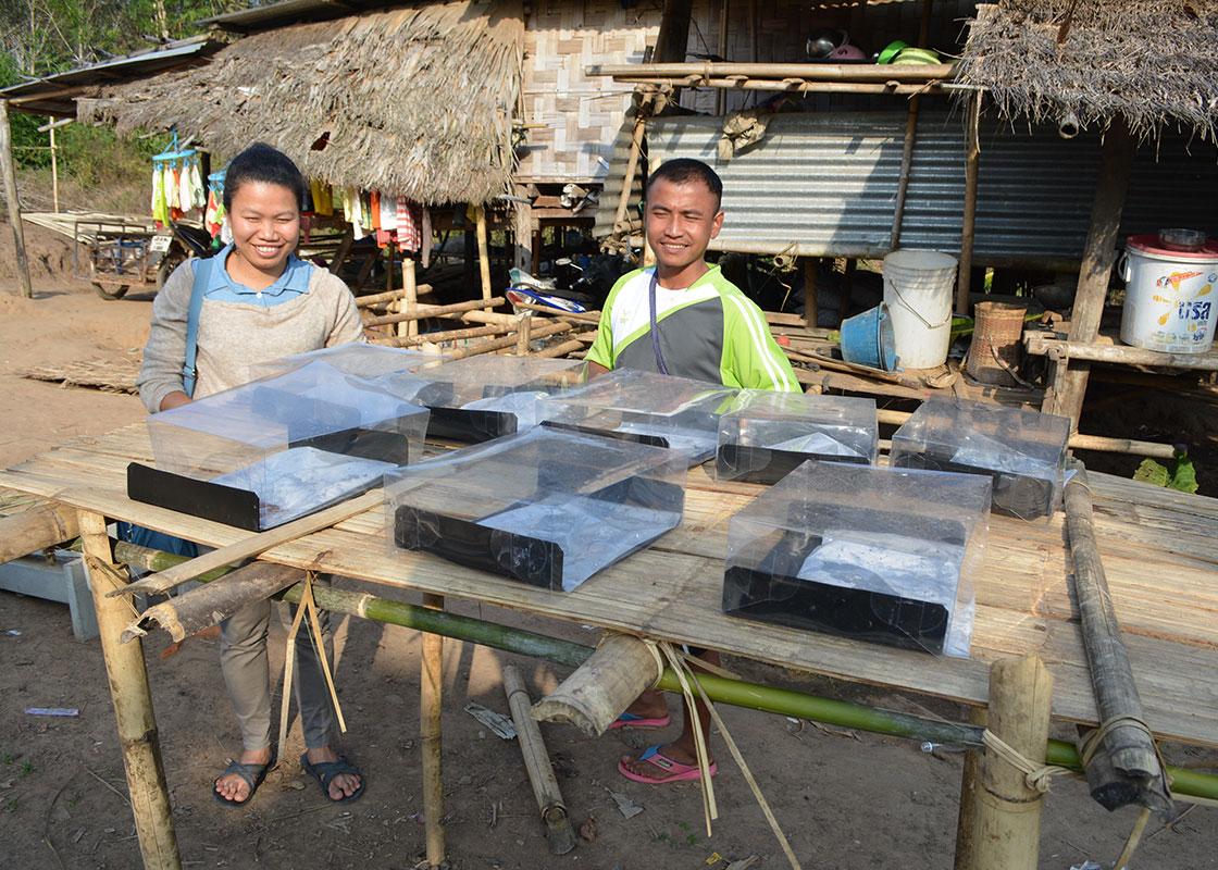 Piyawan and Taweeke at a platform built for SODIS X by one family in Fung Na