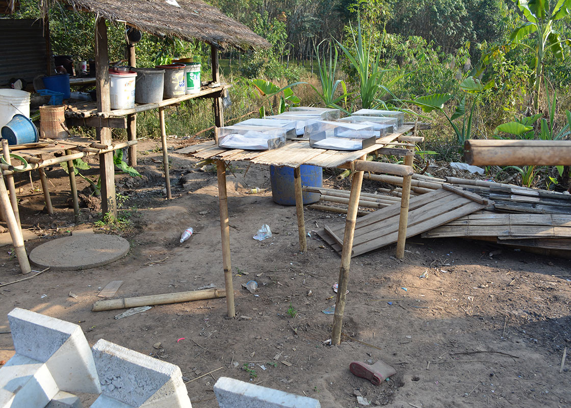 SODIS X platform of another household in Fung Na. The local people can easily make tables and benches with locally available bamboos.