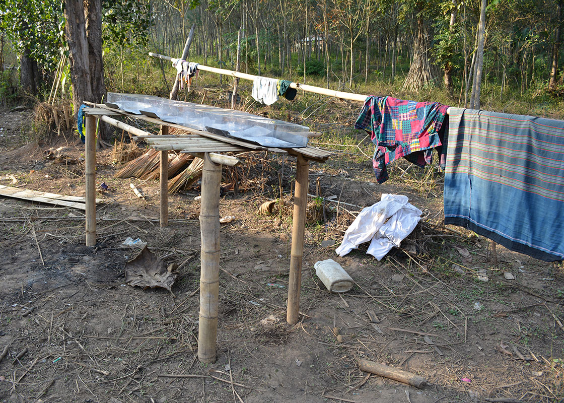Another family made and placed their SODIS X platform in their clothes drying area, the spot with most sun exposure on their property.