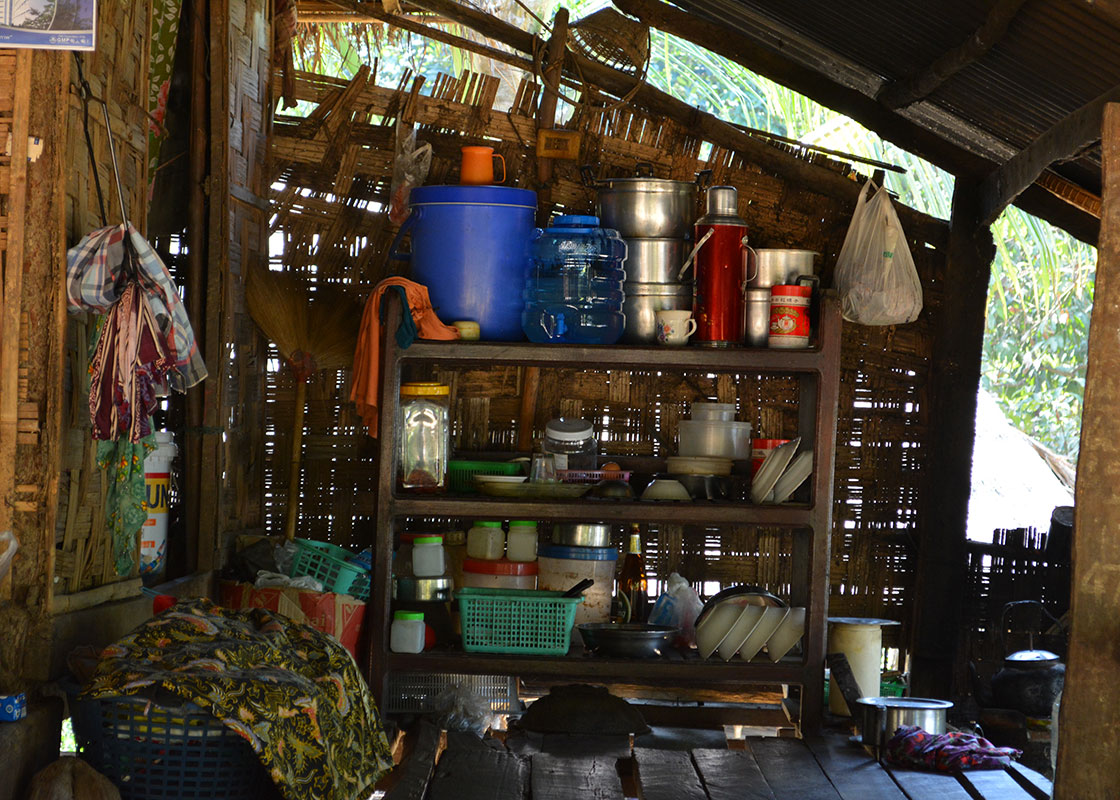 The drinking water container was kept right in the kitchen of this Mong Sa Tur household.