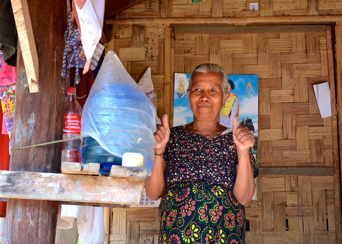 She was also very proud of the meticulous care she took of the safe drinking water container.