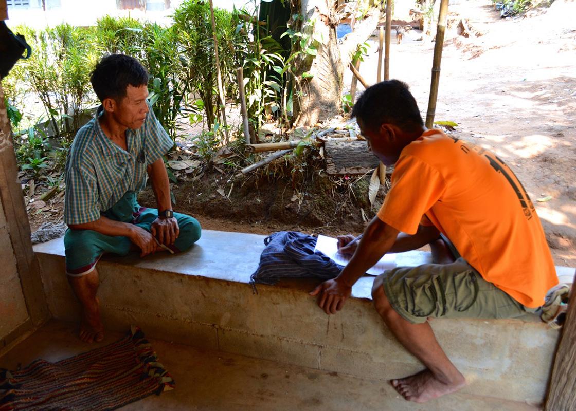 Taweeke interviewing a SODIS X user in Moraka community
