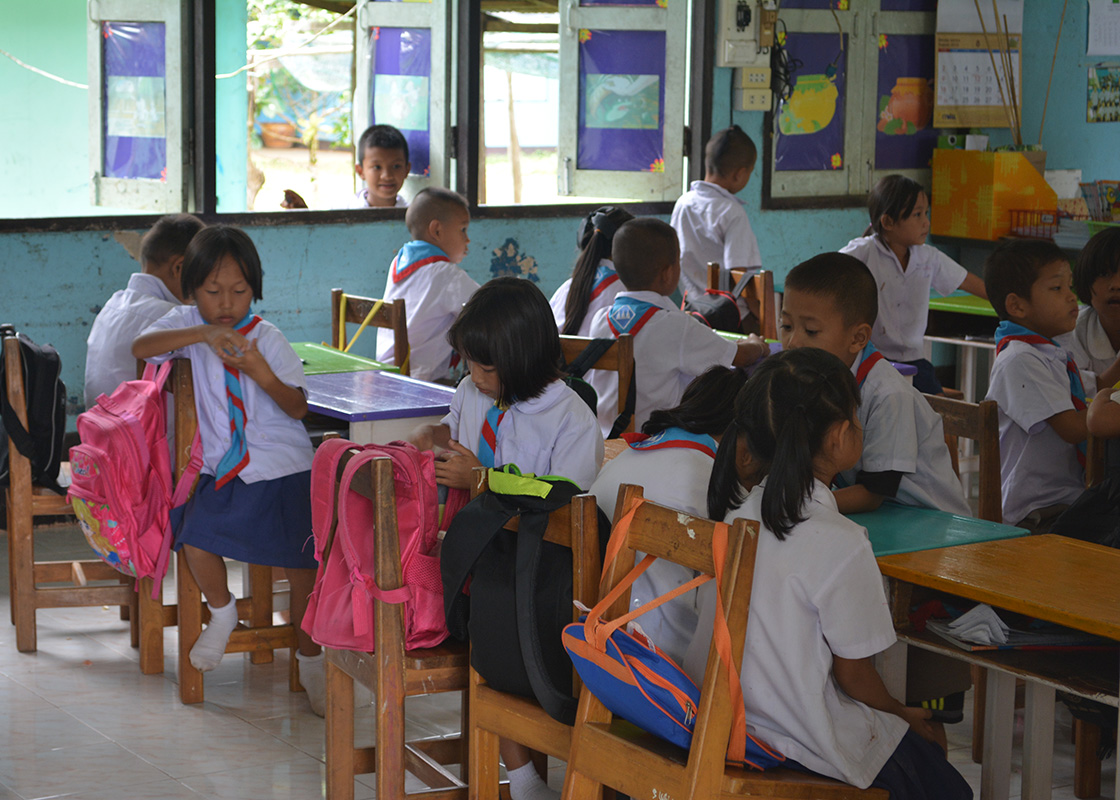 Students in a classroom at Ban Mai school