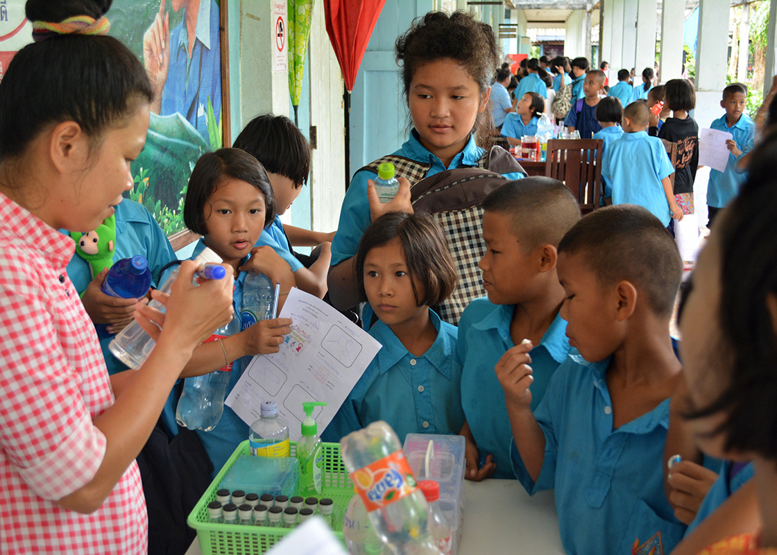 A group of students at one of our activity stations