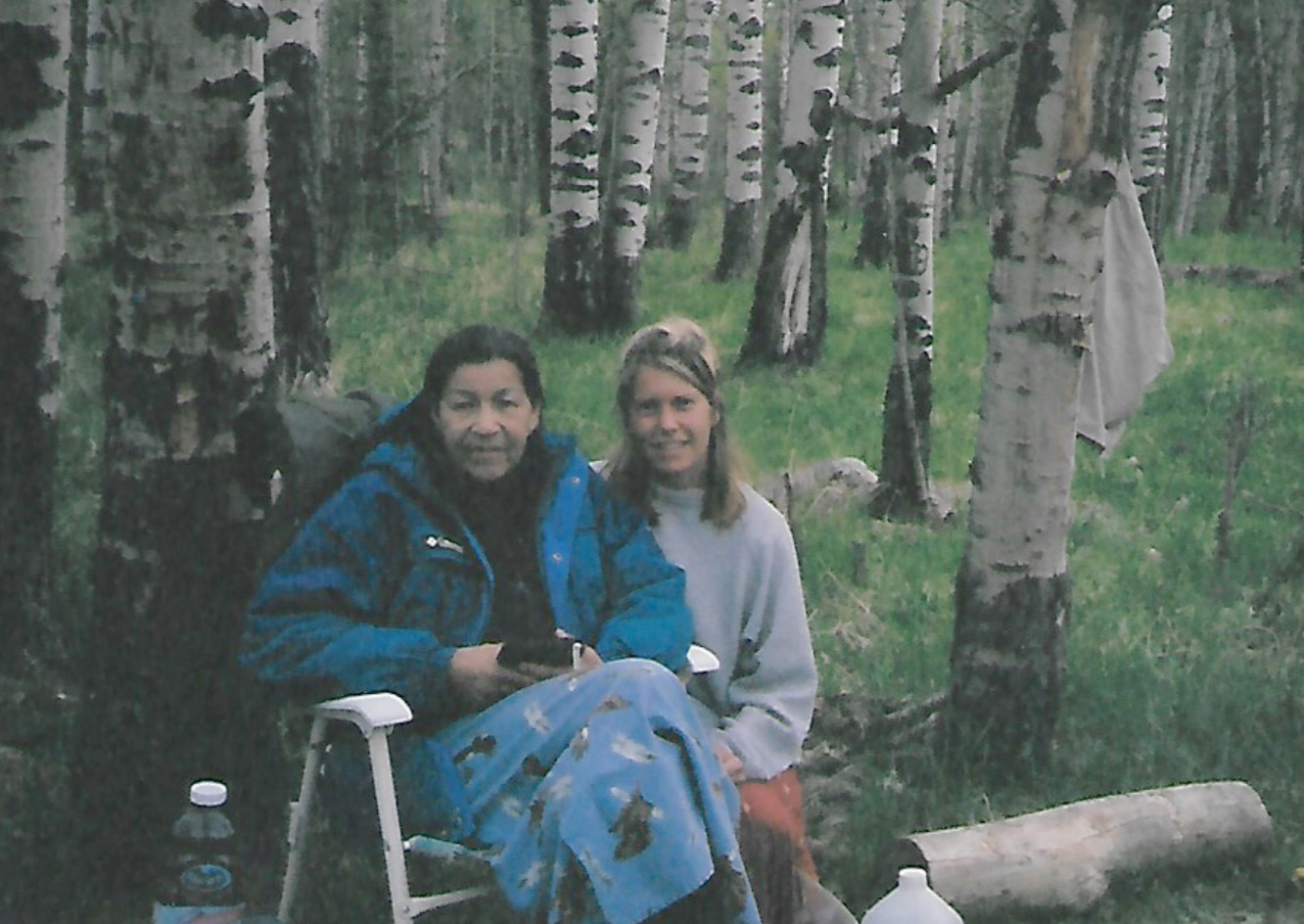 Cree Elder, Doreen Spene (CIWRI) and Lisa Marie, after my four-day VISION QUEST, Bragg Creek, AB.