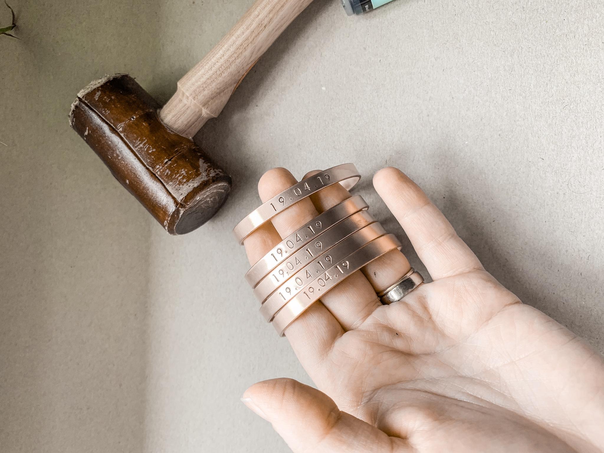 Pouss hand stamped bracelet cuffs