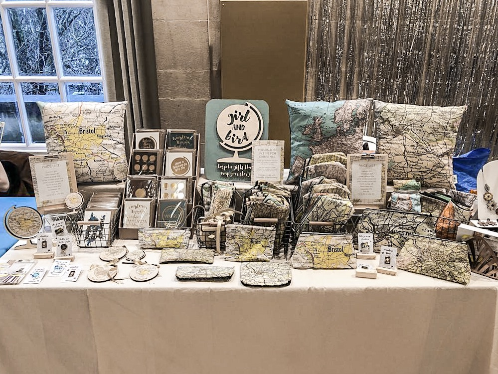 A gorgeous stall by  Annah of Girl and Bird  at Etsy Made Local December 2018. Photo by  Ellie Longhurst of Little Paisley Designs