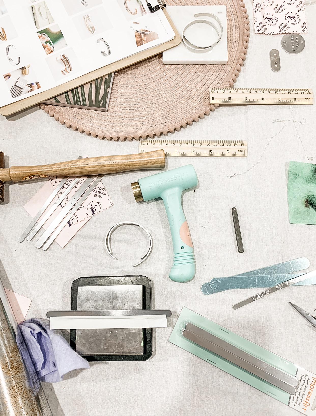 Jewellery workshop hand stamped bracelets pouss design
