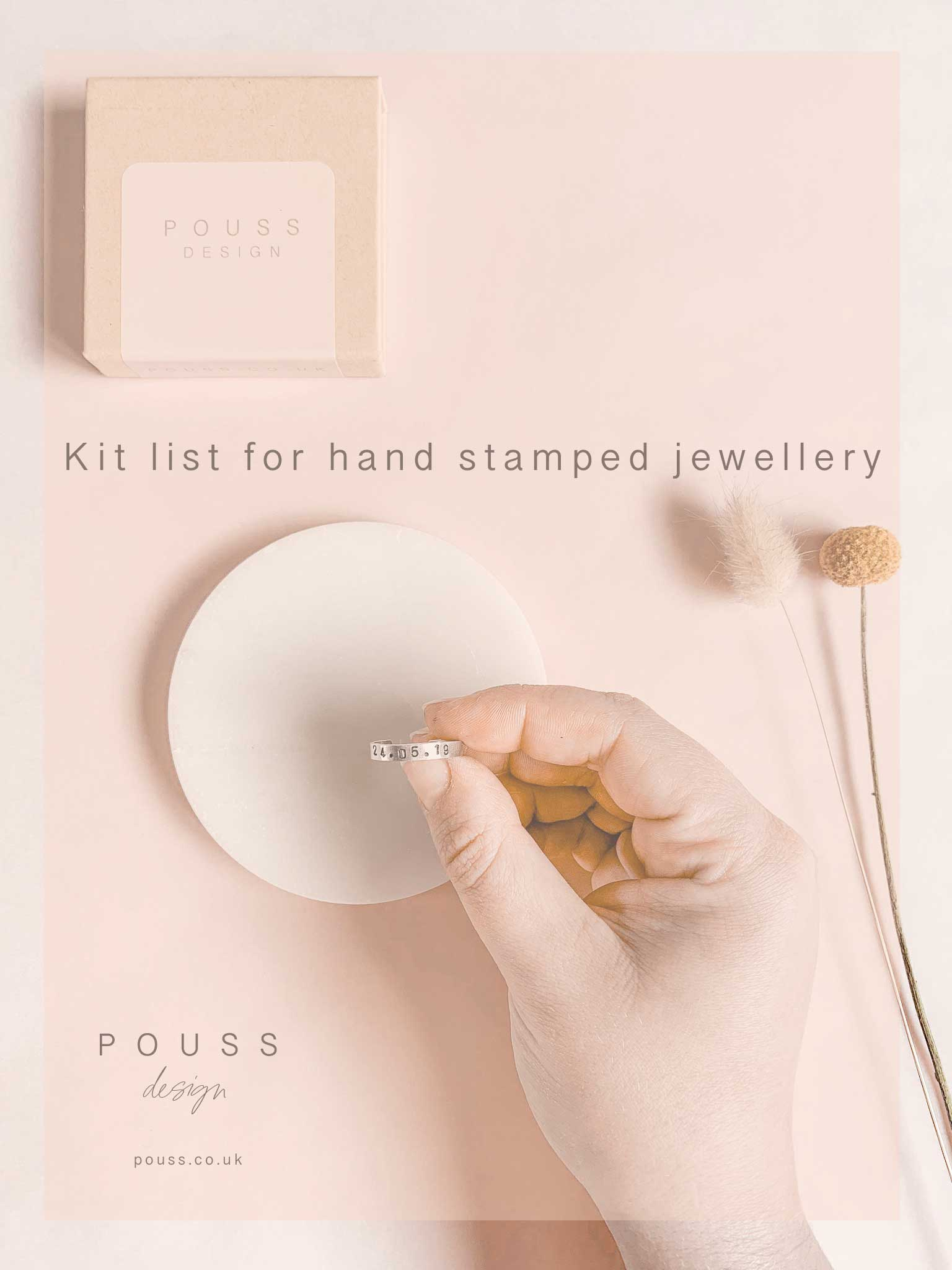 Kit list for hand stamped jewellery by Pouss Design