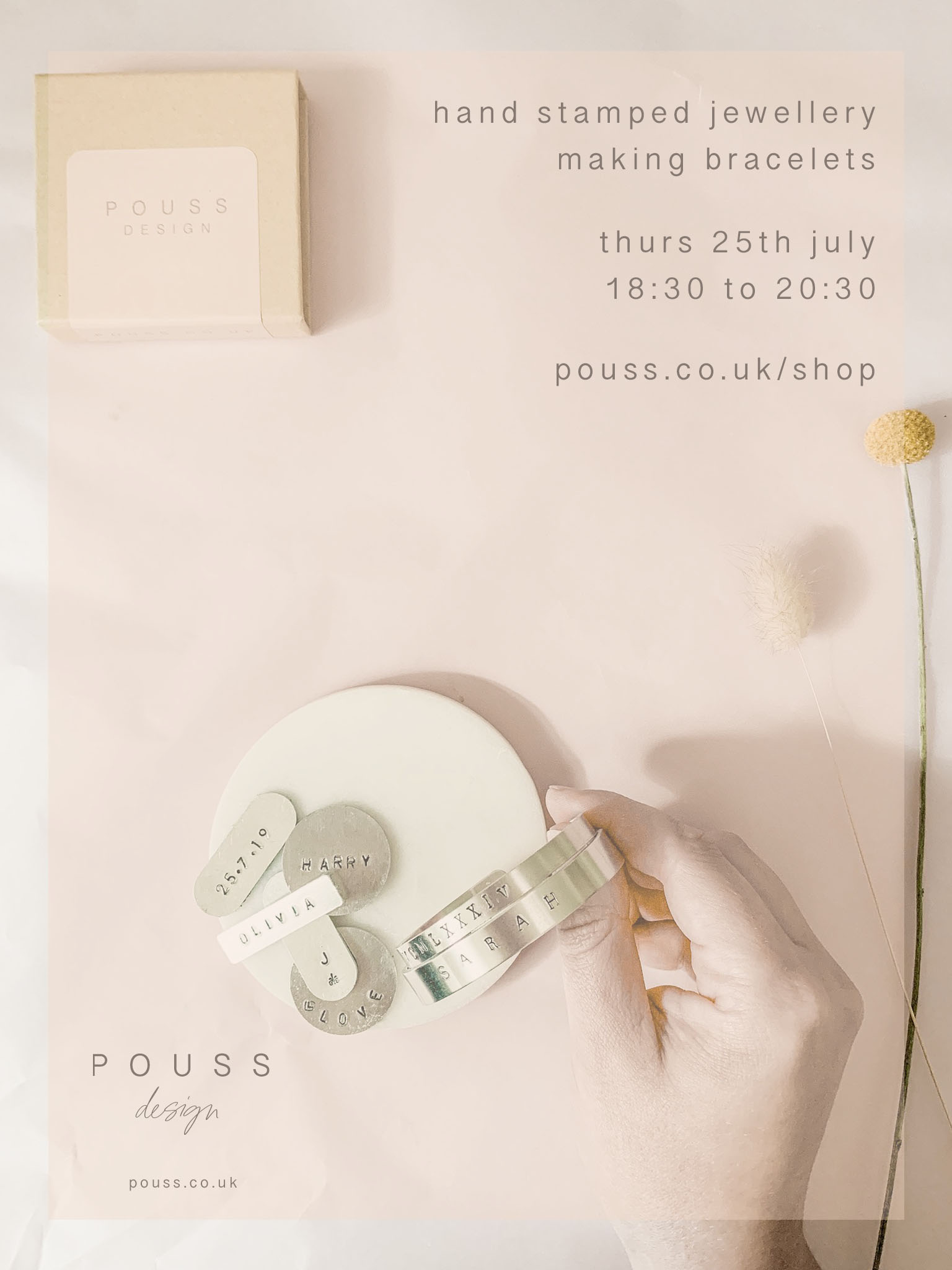 Pouss Design hand stamped workshop 25th July 2019