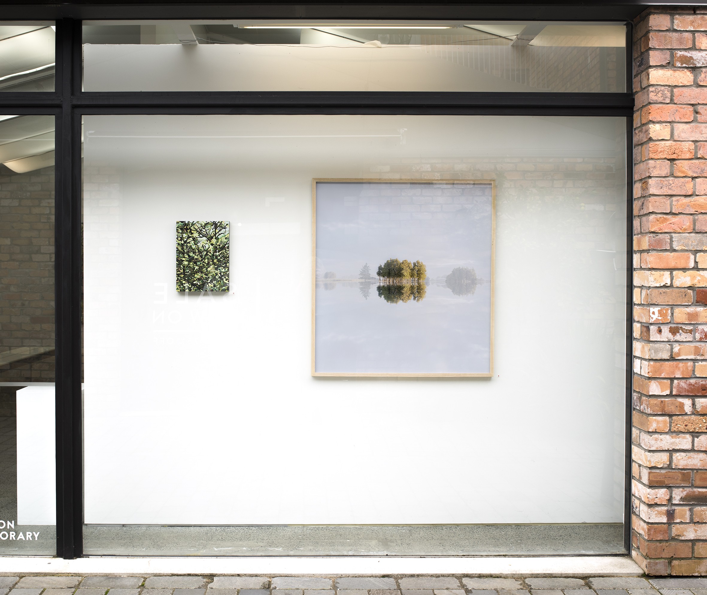 Window space Sanderson Contemporary  Left:  All Flourishing is Mutual  by Paris Kirby. Right  Awaiti, Waihou Valley