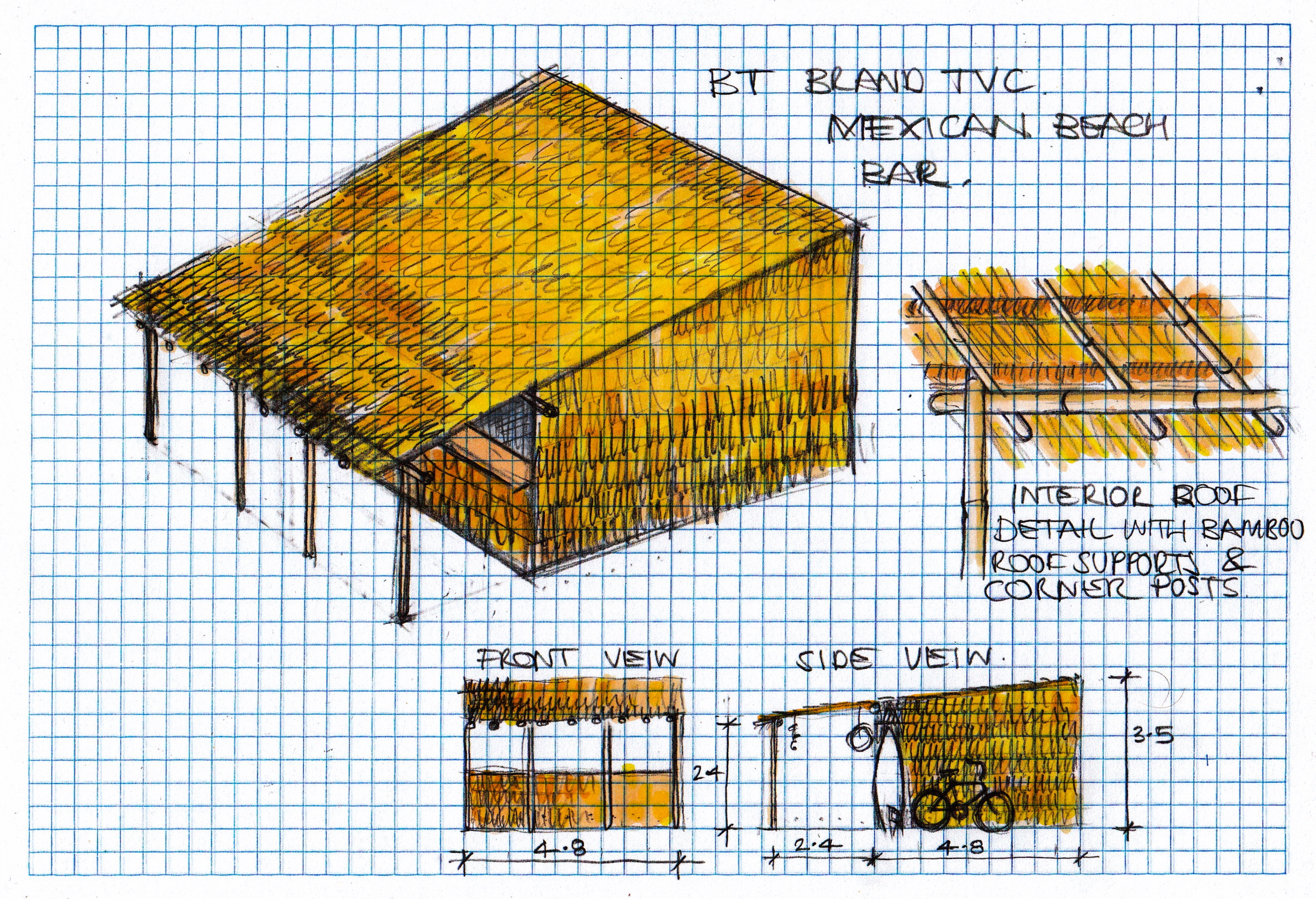 concept illustration of Mexican beach bar