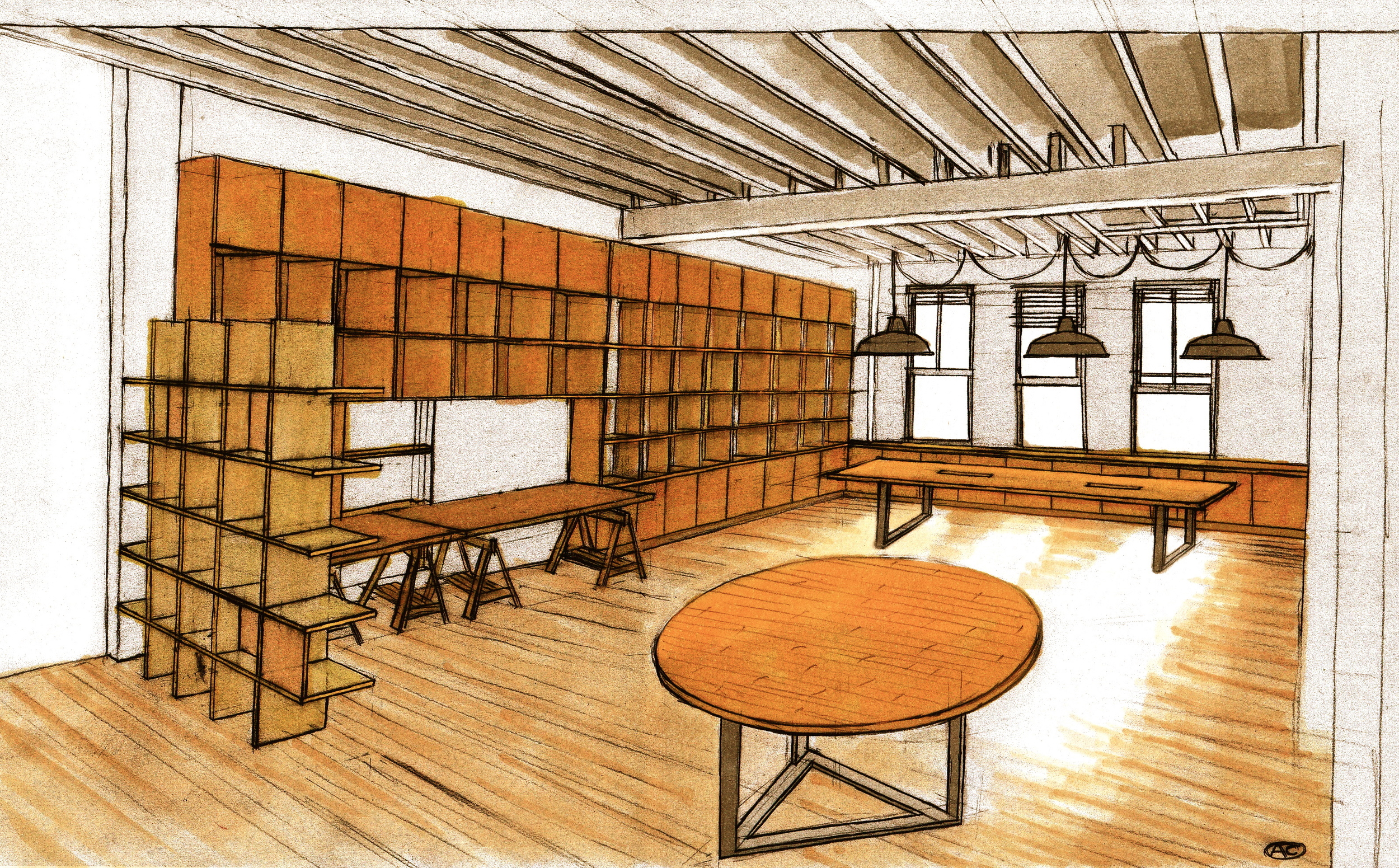 Concept for Photoplay office fit out, including furniture and cabinetry design