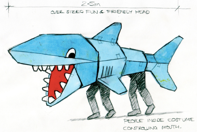 concept illustration of shark puppet