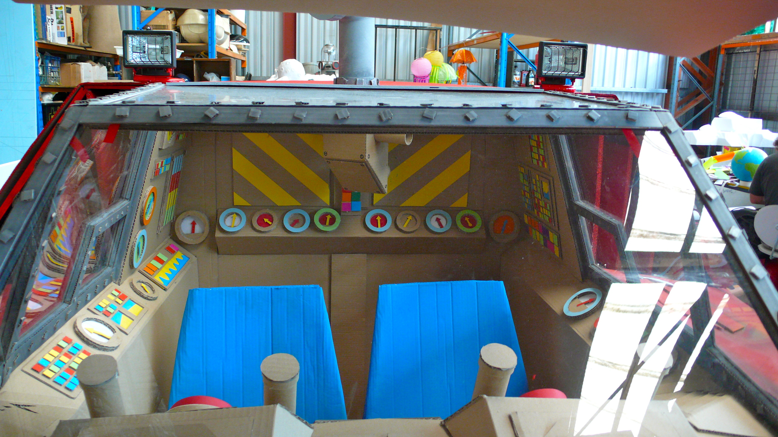 interior details of cardboard submarine