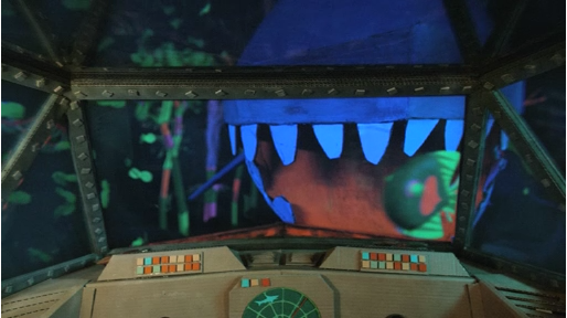 cardboard submarine & full scale shark puppet