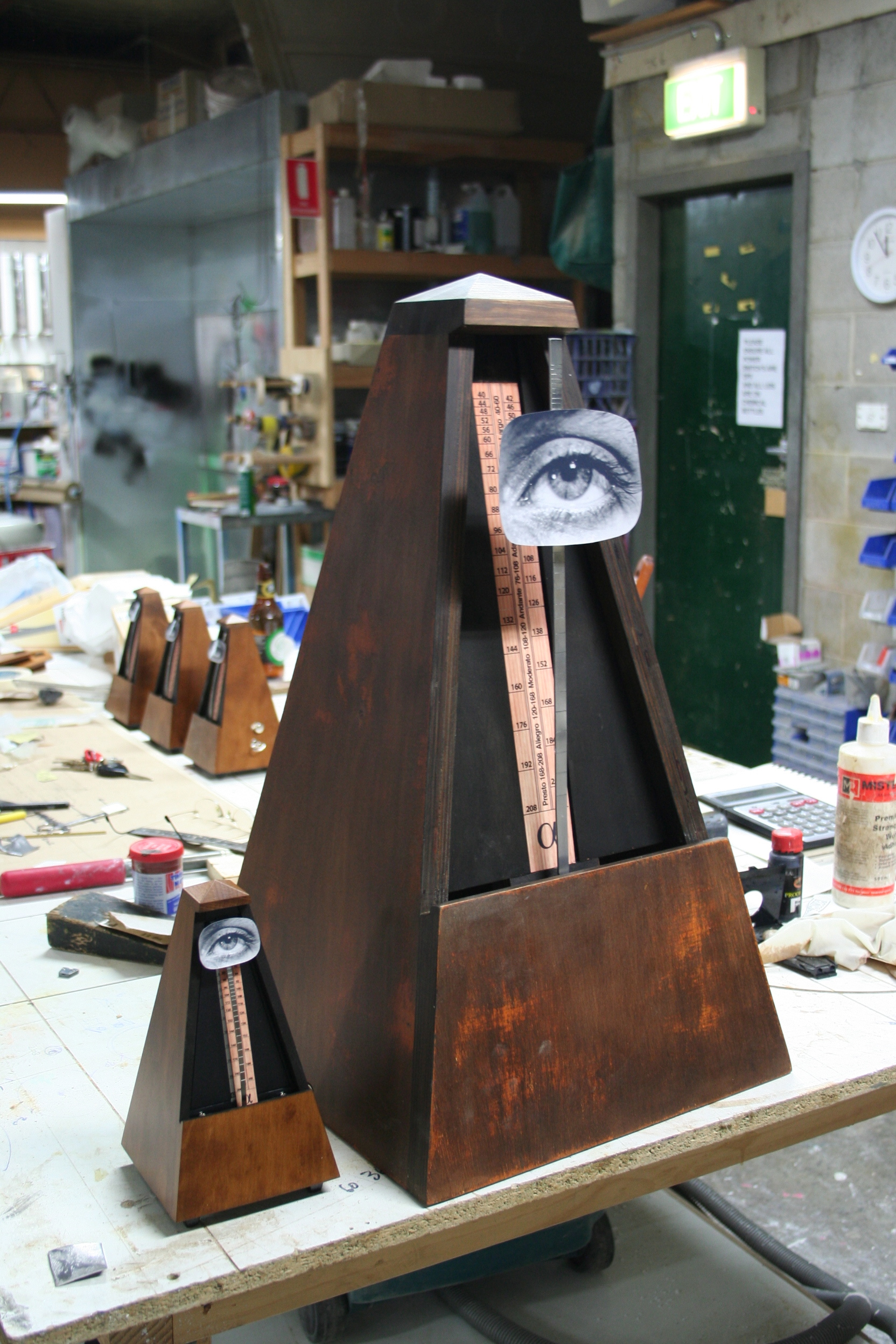 original and oversized metronome prop constructed by Yippee Ki-Yay