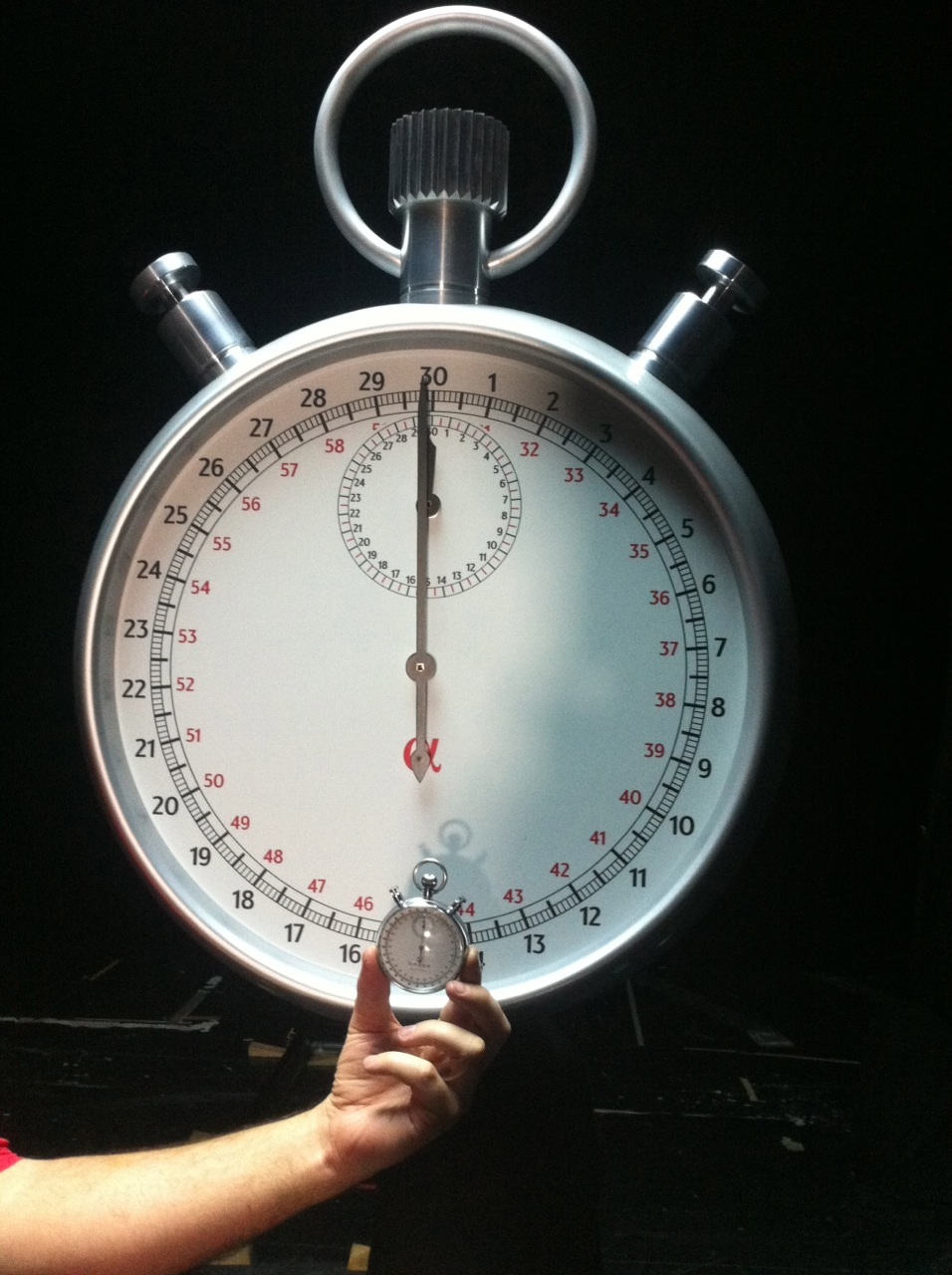 original and oversized prop stopwatch which had double moving hands