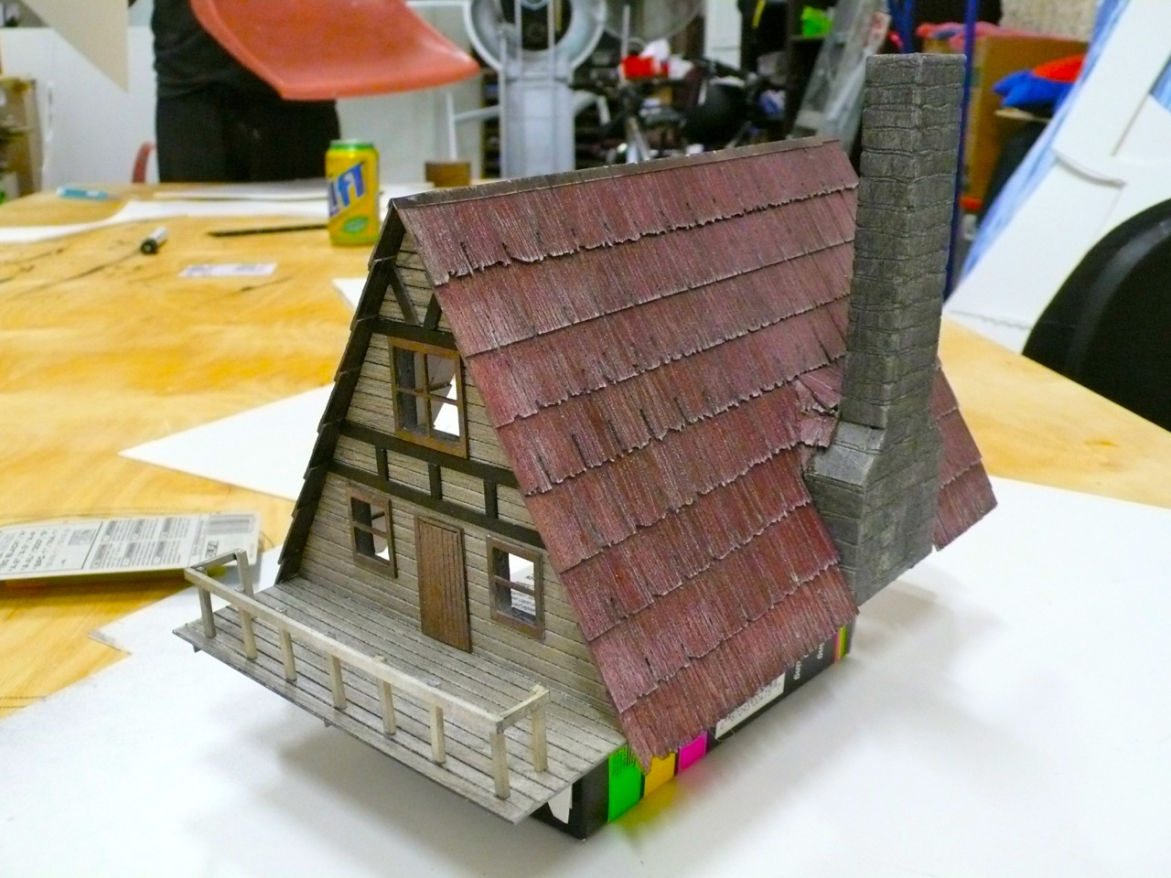 Miniature ski chalet. Made by Lewis Morley Jr.