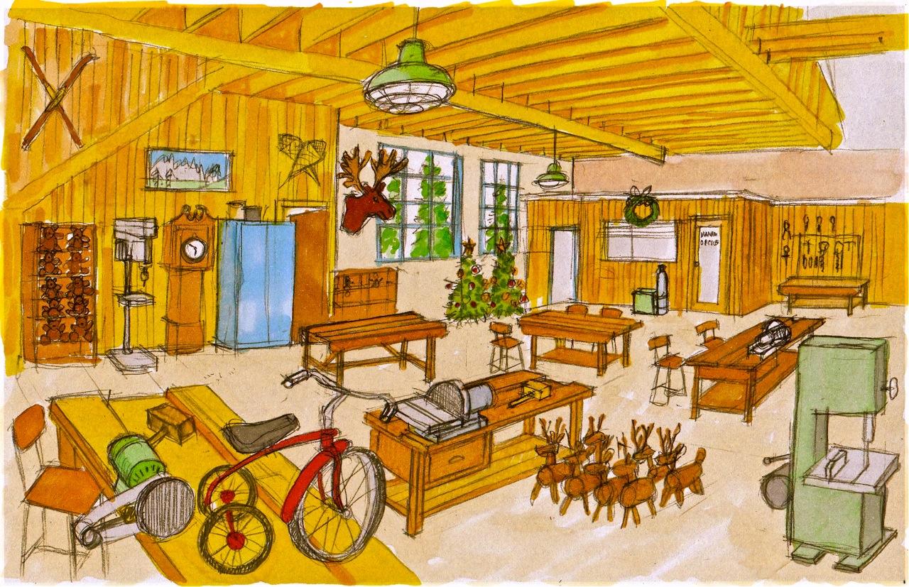 Concept illustration of Santa's Workshop
