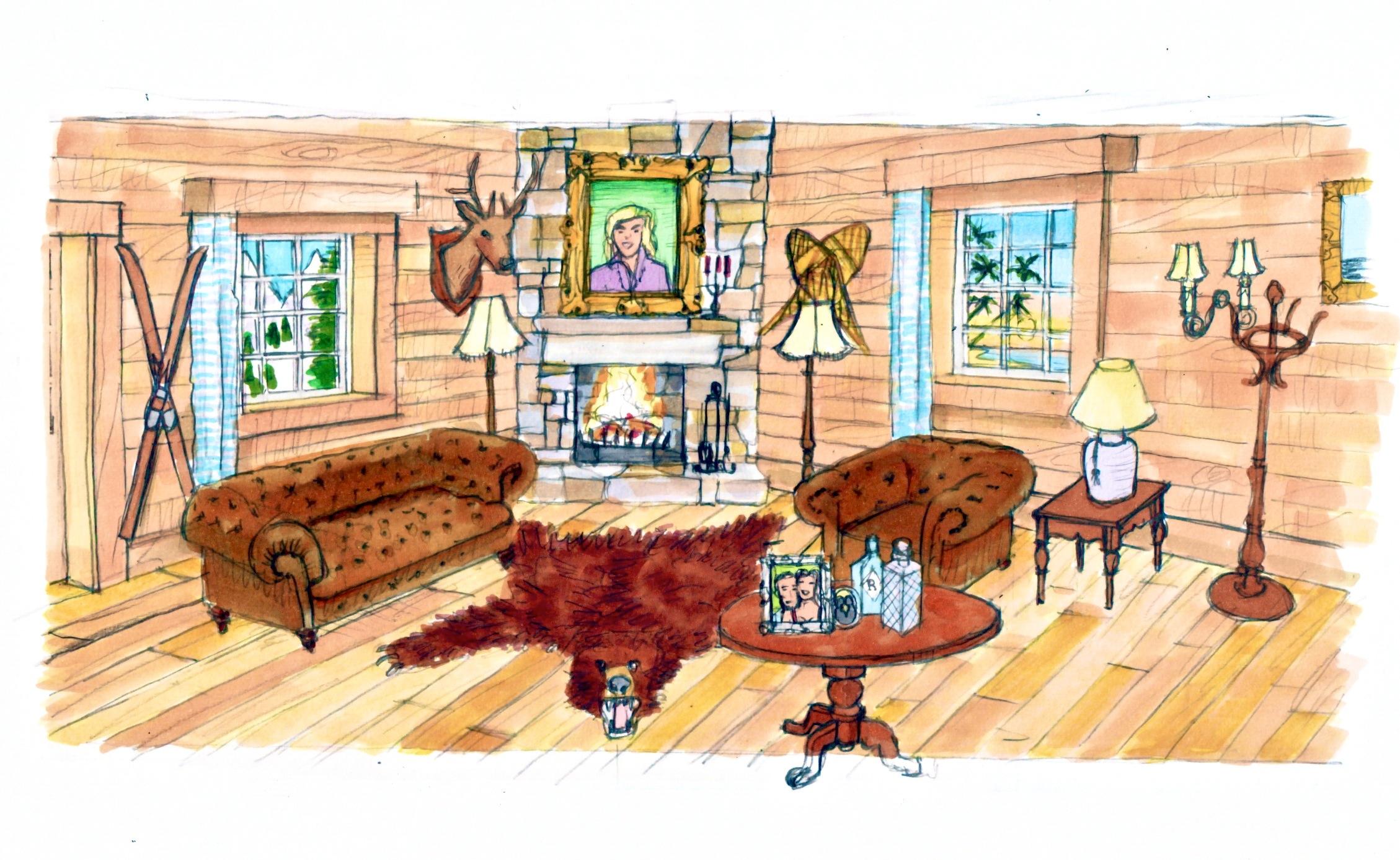 Concept illustration of log cabin interior