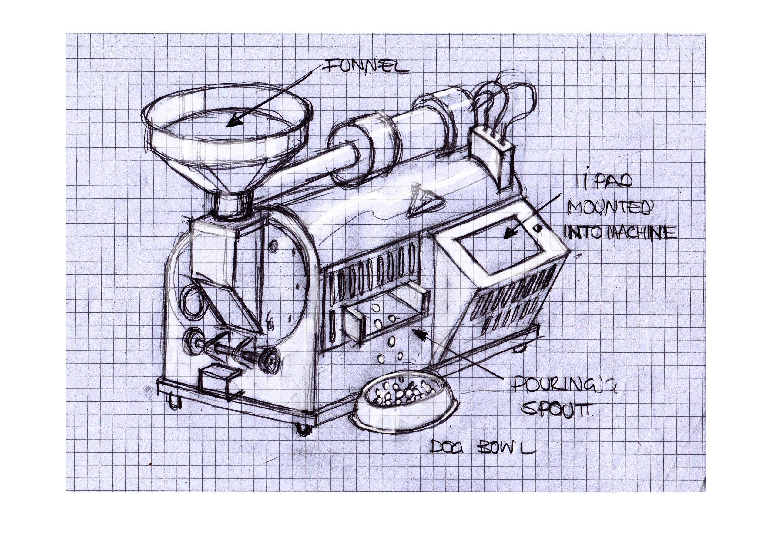 illustration of dog food processing machine