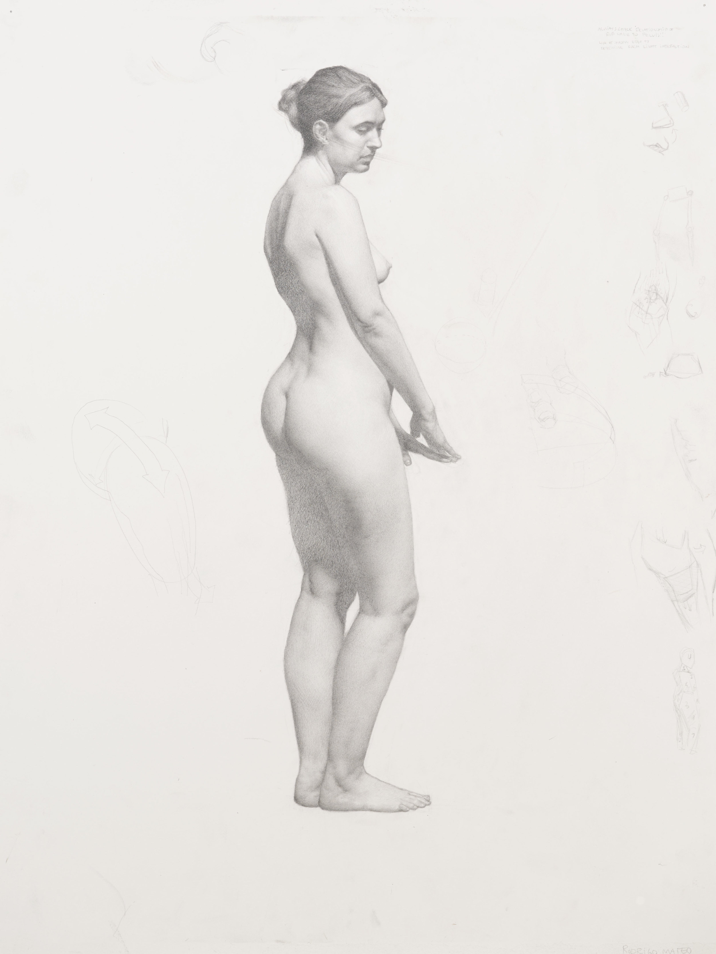 Standing Female Nude. 18x24. Graphite on paper.