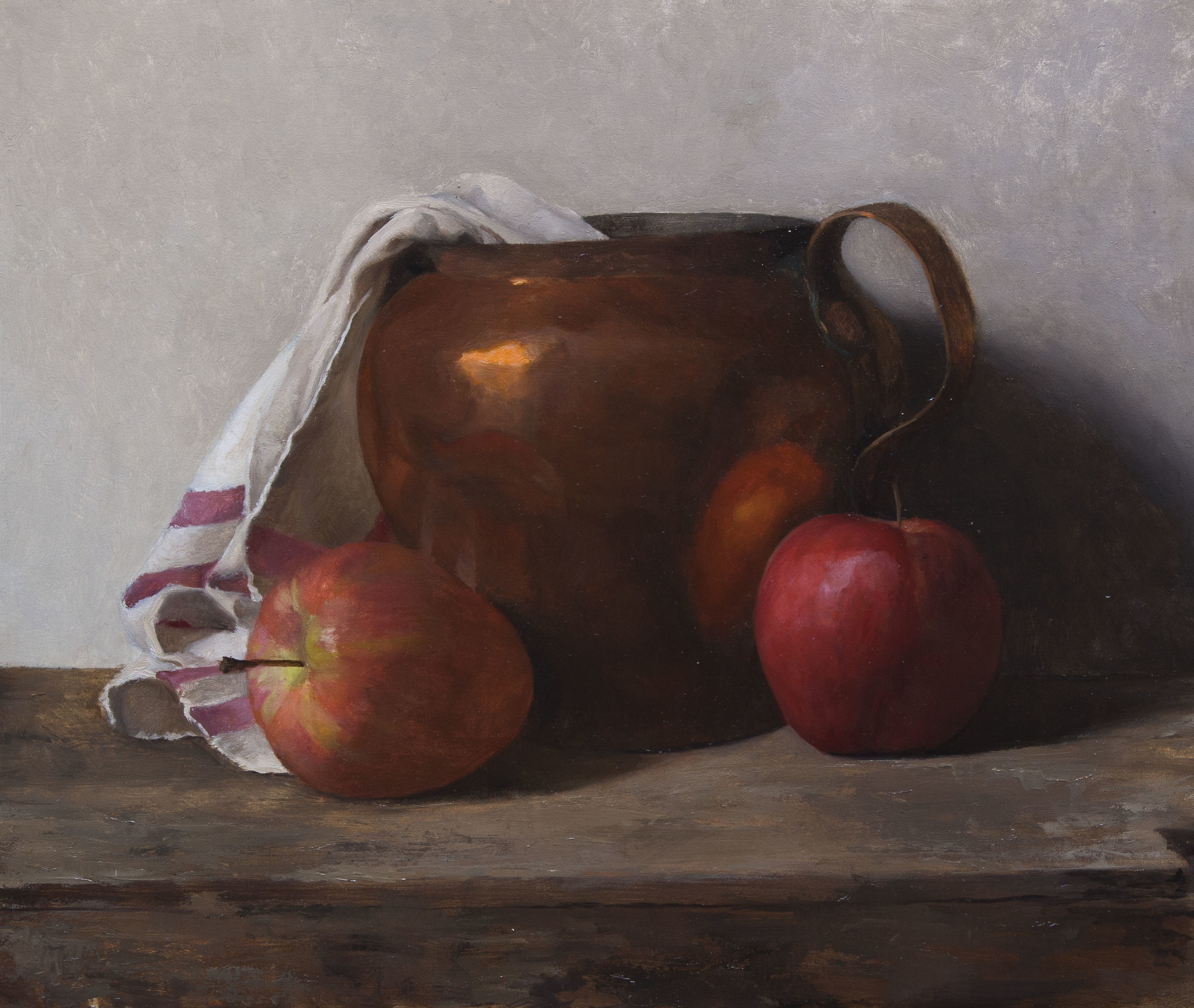 Copper Pot With Apples. 10x12. Oil on Panel