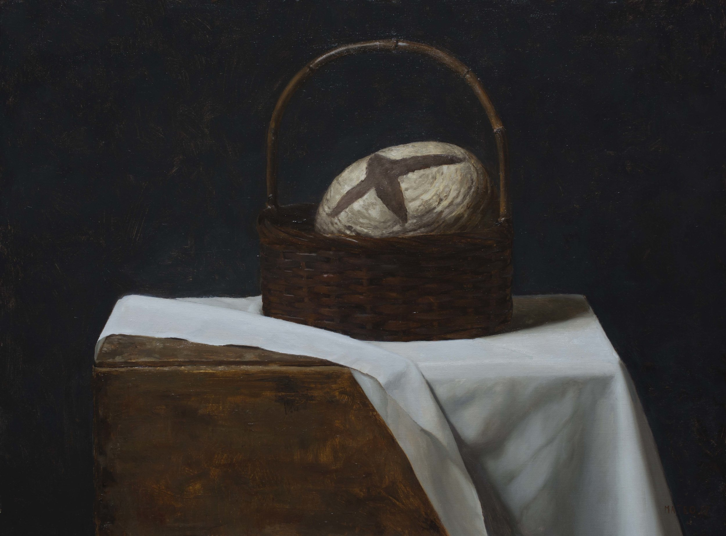 Basket of Bread. Oil on Canvas. 18x24