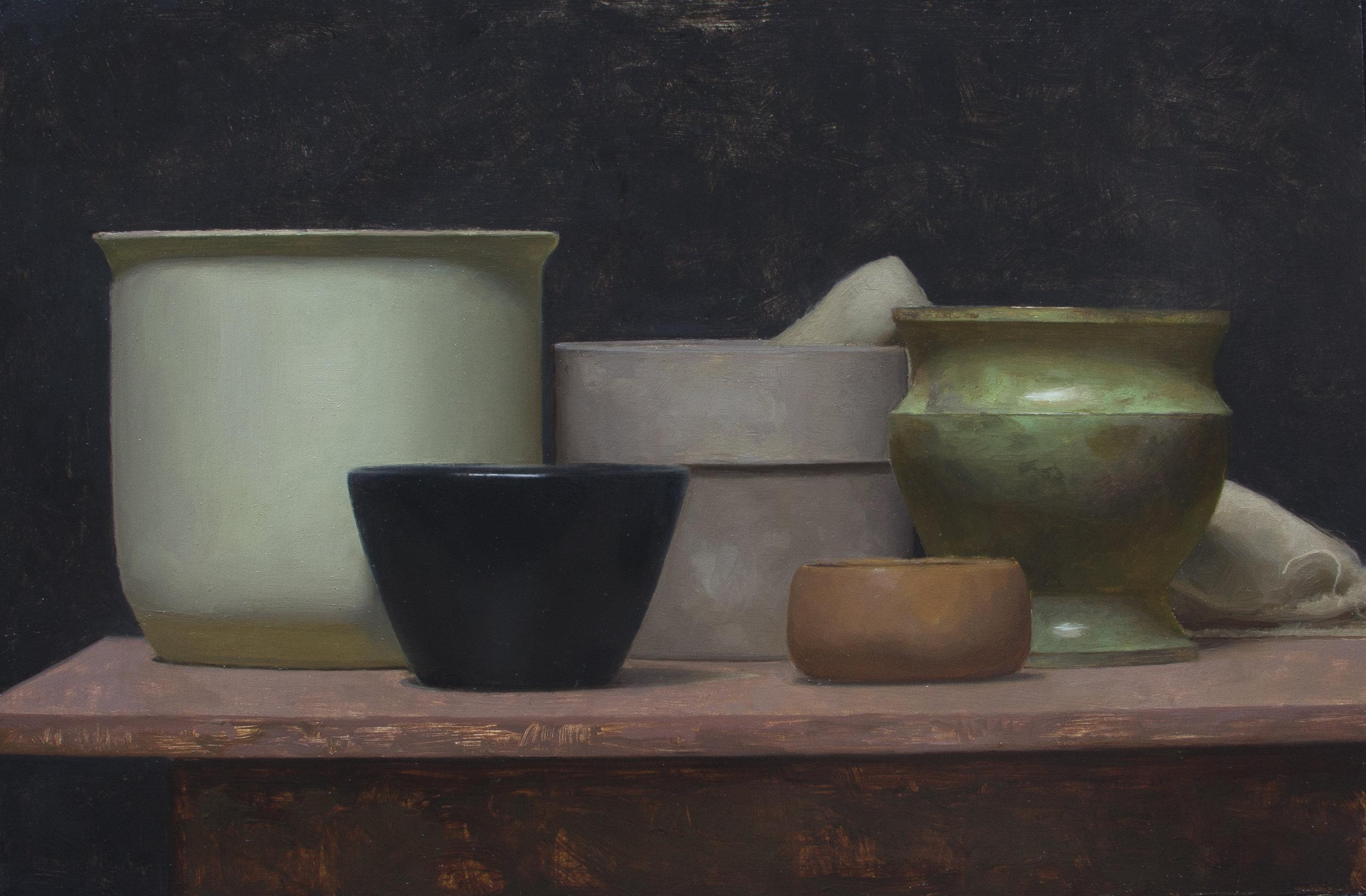 Five Vessels. 12x18. Oil on Panel