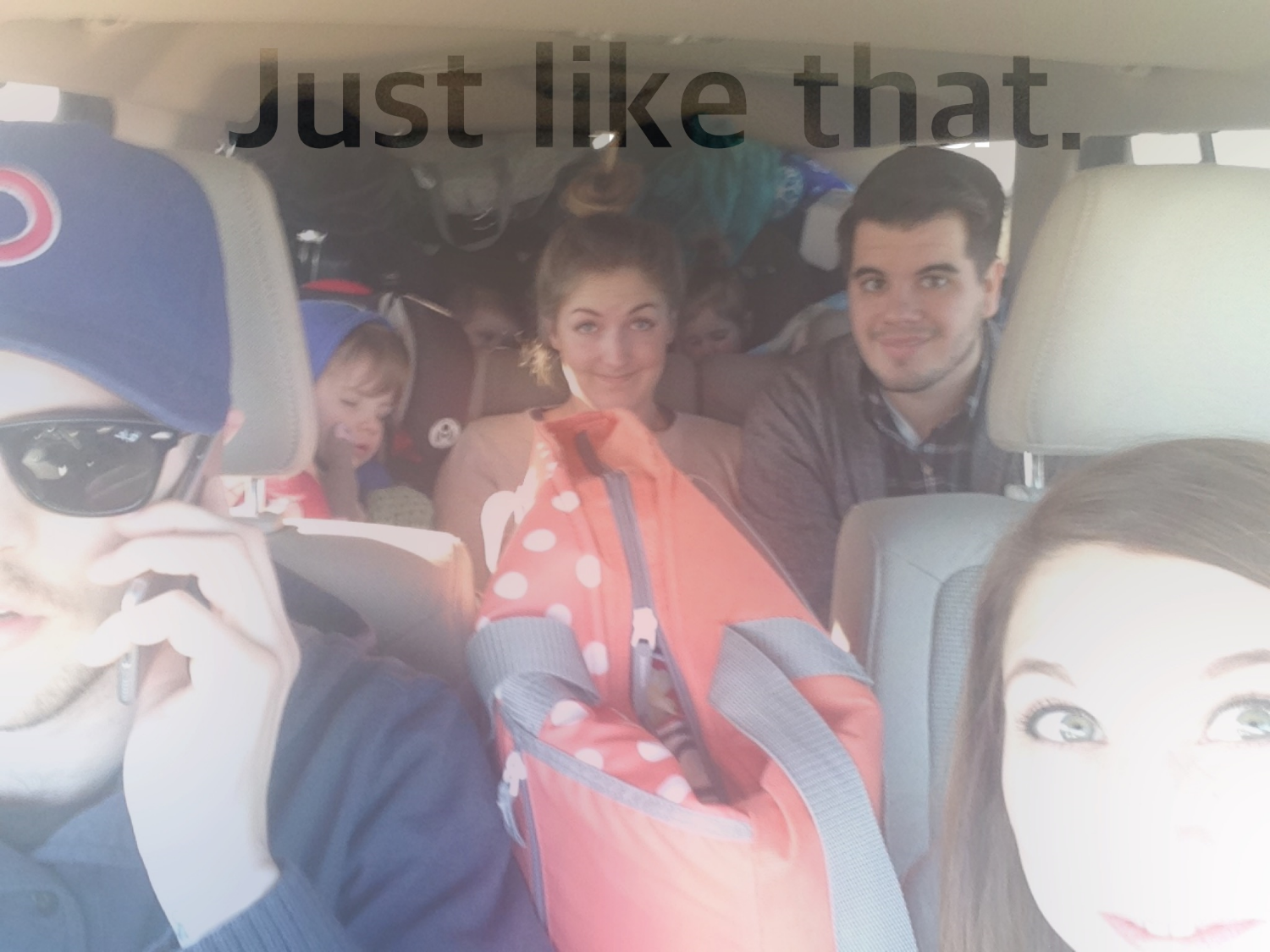 My sister in-law, her husband, three kids, Austin and me and lots and lots of stuff, packed up and headed from Iowa to Texas January 2015.