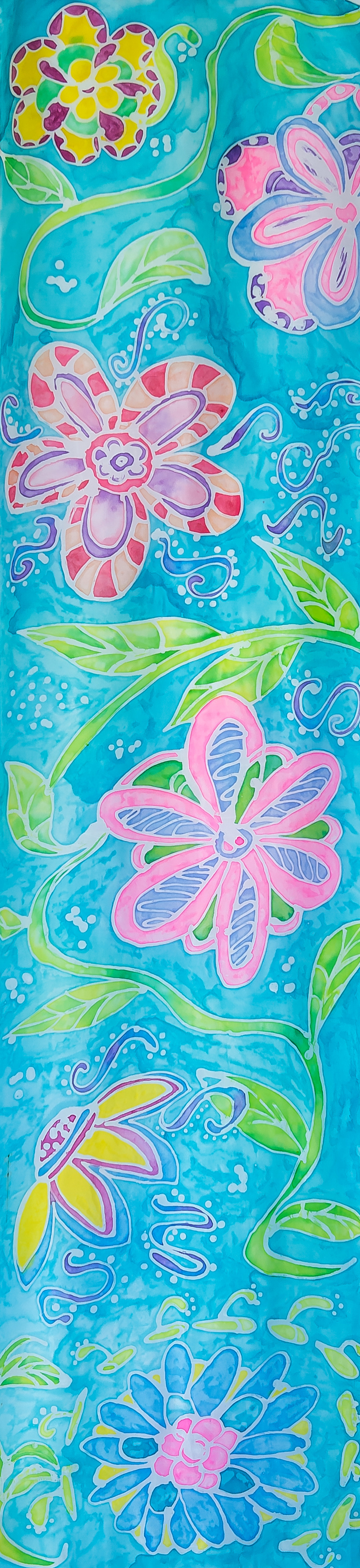 "Whimsical Flowers 14""x54"" $75"