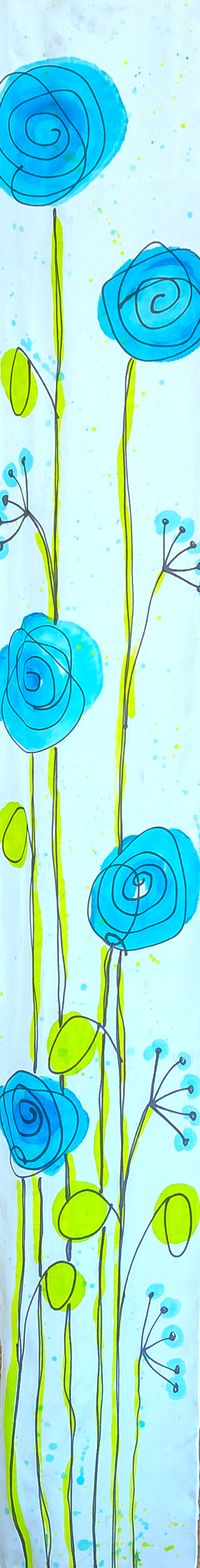 "Blue Poppies 8""x54"" $75"