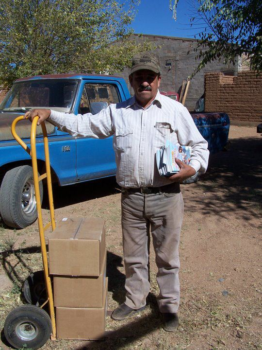 Pastor Cheppi with Bibles for 4 churches at El Terrero, Namiquipa