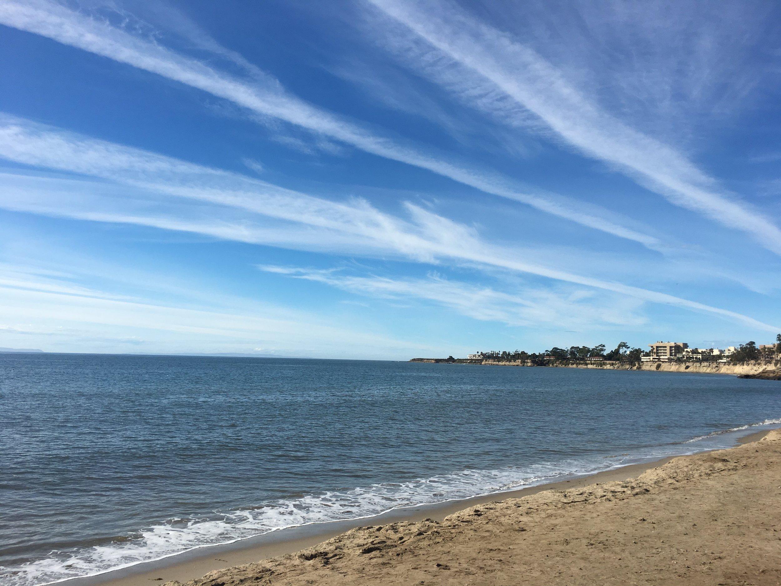 Beach in town looking out at University of California Santa Barbara.