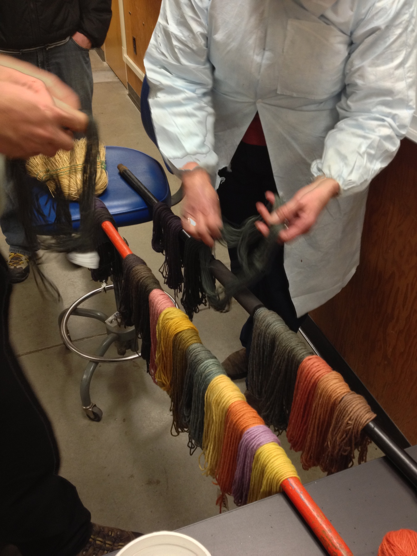 Back in to dry out our dyed wool. Then we assembled a little reference card of all our different colors. Vine video of the progress here: https://vine.co/v/bIP9BtdEMb7