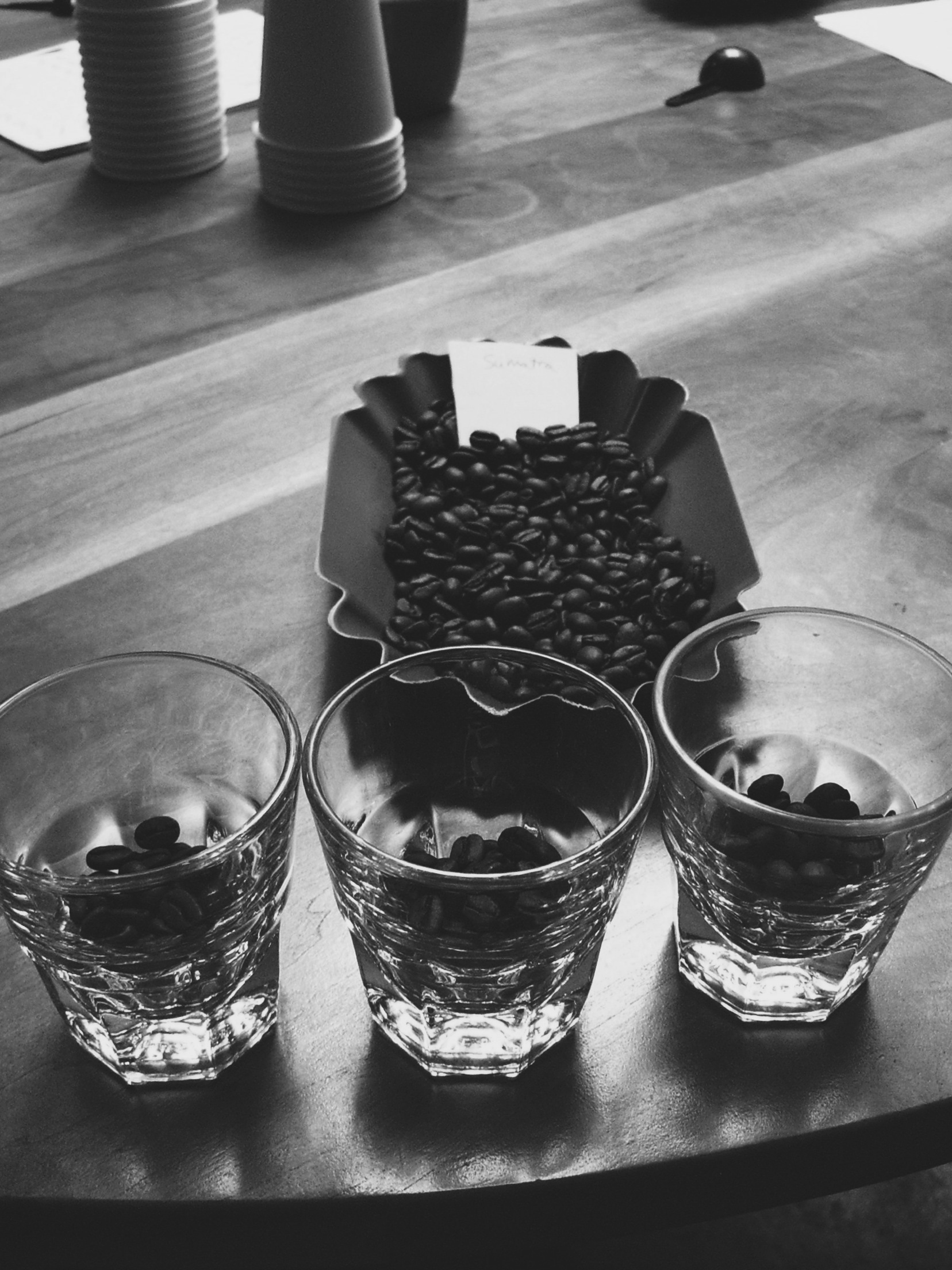 When cupping, you always do three of the same beans to account for any beans having an individual defect.