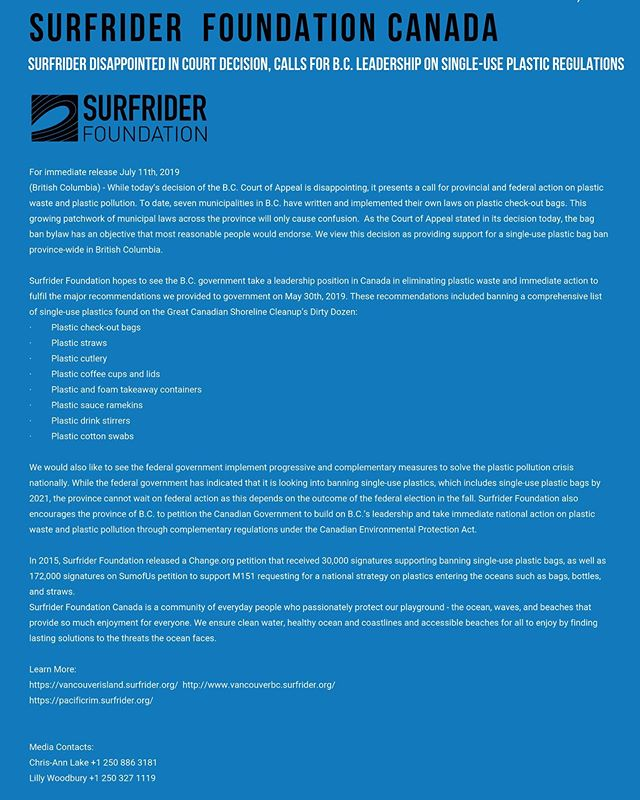 Our statement on today's court decision  @surfridervi @surfrider_pacificrim