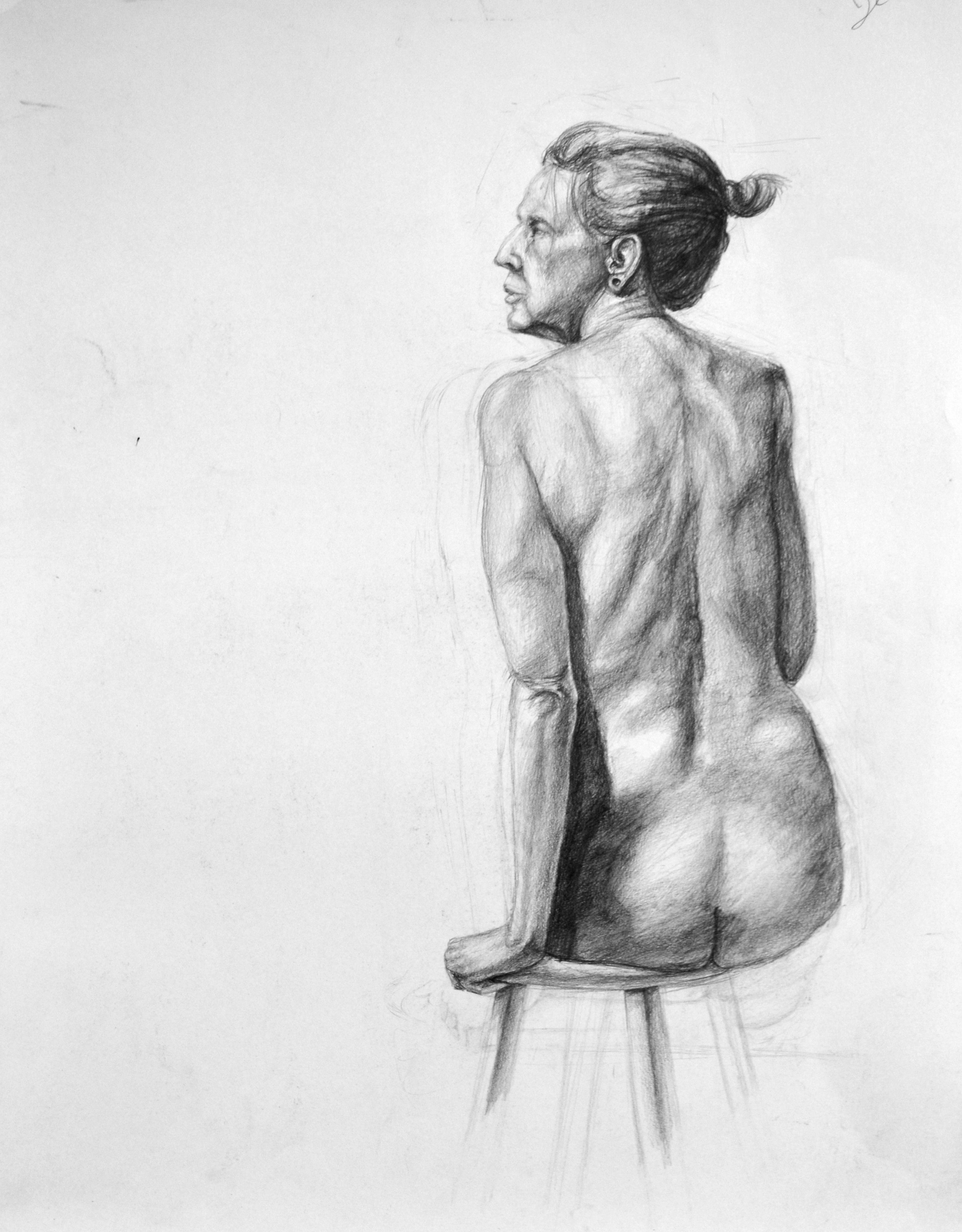 Highschool Figure Drawing, Pencil on Paper
