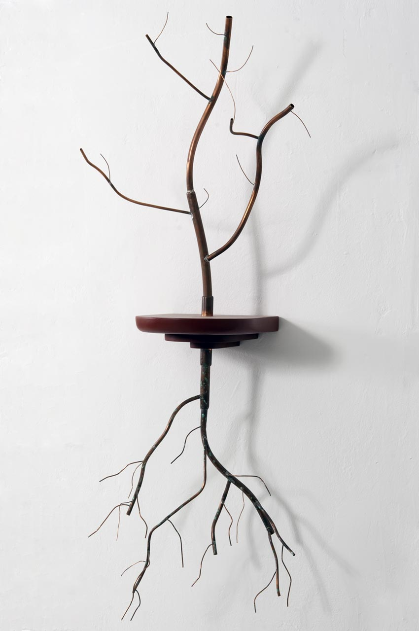 Alejandro Mendoza _ Requiem_ wood,   cooper  wall sculpture  _57 x 11 x 15  2011 .jpg