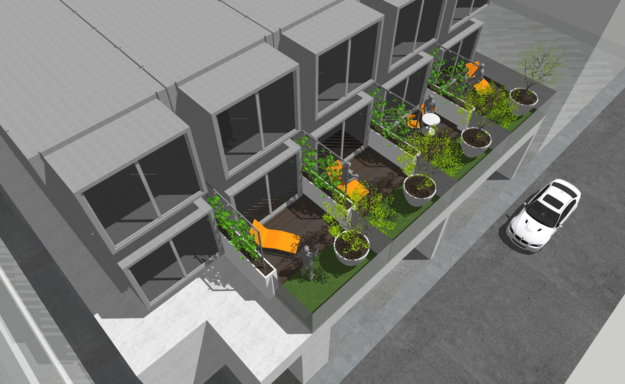 exploring the many exterior amenity spaces being designed at kasita on tennyson. west facing views with 200SF private garden and deck.