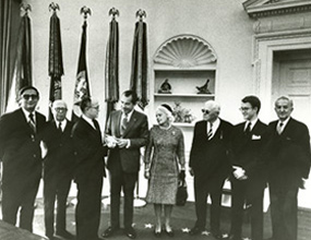 Jeremiah Milbank, Jr. and Margaret Milbank Bogert, son and daughter of the founder, meet with President Nixon in the Oval Office in 1970.